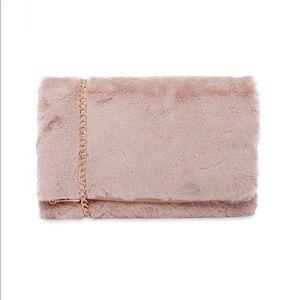 Handbags - Pink Fuzzy Faux Fur Crossbody Clutch
